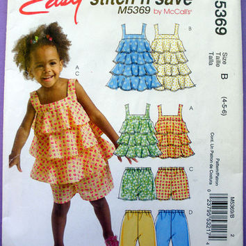 Toddler Girls Top, Dress, Shorts and Capri Pants Toddler Size 4, 5, 6 McCall's Stitch 'N Save 5369 Sewing Pattern Uncut