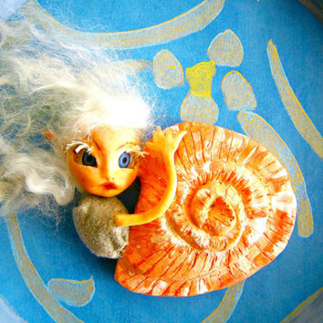 Shadow Box Art-  Lady  Fairy Snail- Mixed Media Assemblage ooak christmas gift baby gift