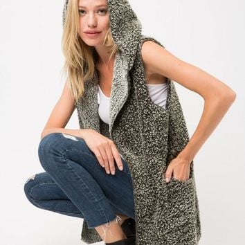 Soft and Fuzzy Vest with Hood - Olive