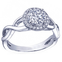 Engagement Ring - Round Diamond Halo Engagement Ring infinity band in 14K White Gold - ES877BRWG