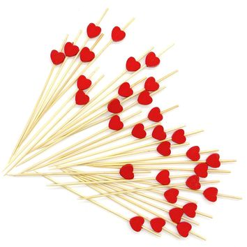 "PuTwo 4.7"" Cocktail Picks Handmade Cocktail Sticks 100 Counts in Red Heart Shape"