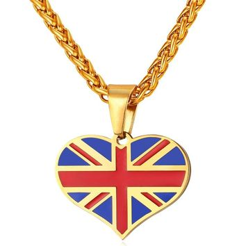 New Hot UK Heart Love Necklace Pendant Stainless Steel/Gold Color Women/Men Trendy Patriot England National Flag Jewelry GP2450