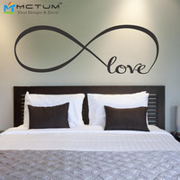 Personalized Infinity Symbol Bedroom Wall Decal Love Bedroom Decor Wall Quote Vinyl Wall Stickers Free Shipping  Size99*38cm