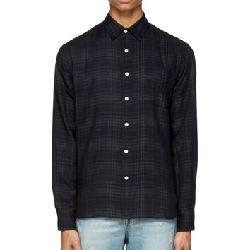 Rag And Bone Navy Reversed Plaid Beach Shirt
