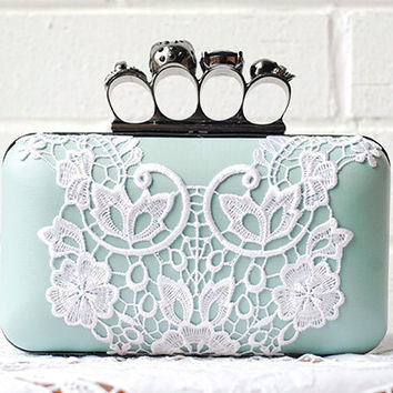 Mint Green Teal Aqua Blue Knuckle Ring Box Clutch White Lace Blossom Victorian Purse Wedding Gift Bridal Brides Minaudière Skull Rock & Roll
