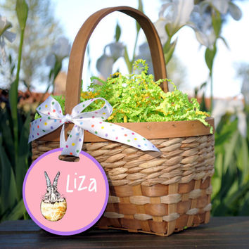 Easter Basket Tag with Baby Bunny Design