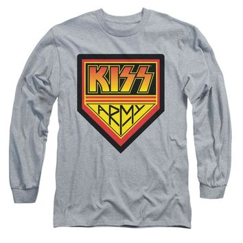 KISS Men's  Army Logo  Long Sleeve Grey Rockabilia