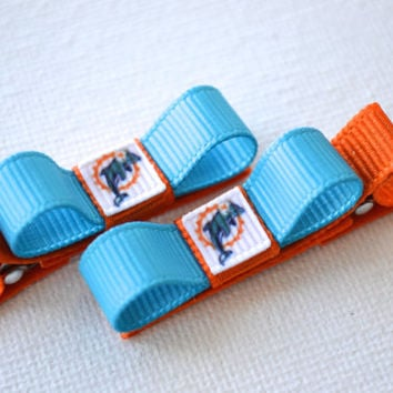 Miami Dolphins Hair Clips - Toddler Hair Clips - Miami Dolphins Bows - Miami Dolphins Stocking Stuffer