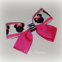 Minnie Mouse ~ Small Boutique Hair Bow ~ Hot Pink, Black and White ~ Zebra Print Bow ~ Two Toned Bow ~ Pony Tail Bow