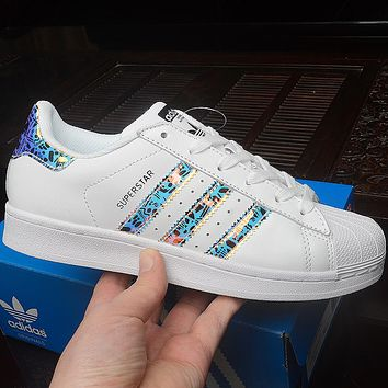 Adidas Superstar Shell New Fashion Laser Women Men Running Sports Leisure Shoes White