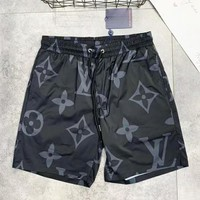 LV Louis Vuitton Summer New Fashion Monogram Print Women Men Shorts Black