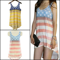 Women USA American Flag Stars Striped Sleeveless Irregular Tank T-Shirts Dress