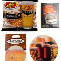 Beer Lovers Gift Set 4 Home Auto Stone Coaster Playing Cards Jelly Belly Draft