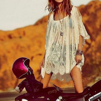 New Summer dress Sexy Woman Solid Color lace see through look short sleeve dress-0628