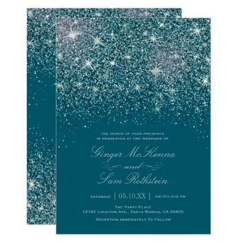 Teal Glitter Wedding Invitations