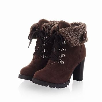 New arrival 2015 trendy girls shoes high quality Fashion Women Ankle Boots High Heels Lace up Snow Boots Platform Pumps keep war