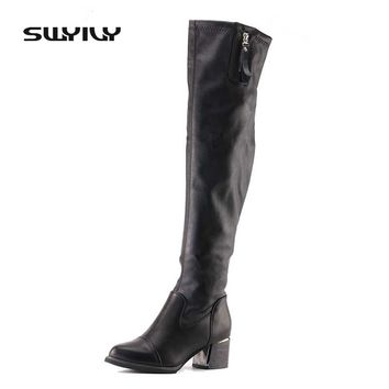 Women's Boots High Boot Black Color 5cm Square Heel Winter Shoes High Boots Women Leather Stretch Fabric Fashion Girl Shoes