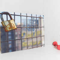 The Lock on the fence on Williamsburg Bridge - New York Photography - Printed on Canvas - 16 in x 20 in, Bag is placed to show the size