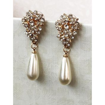 14k Gold/Silver Plated Victorian Inspired CZ Crystal Wedding Earrings