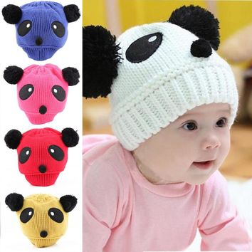 1pcs 2016 New fashion Colorful Lovely Animal Panda Hats Caps Kids Boy Girl Crochet Beanie Hats Panda Cap Hat Beanie