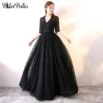 PotN'Patio Vintage Black Prom Dresses Long V-neck With Half Sleeves Ball Gown Beading Lace Prom Dresses 2017