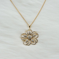 Long gold necklace with a rhinestone flower pendant,Gold plated necklace,Long necklace,Fashion necklace,Prom necklace,Unique necklace,