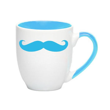 Ocean Blue Mustache Mug - Set of 6 large 16oz. Coffee or Tea Bistro Mugs - Housewares -  Tableware