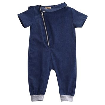 2017 Zipper Cool Summer Toddler Kids Baby Boy Denim Jumpsuit Playsuit Casual Romper