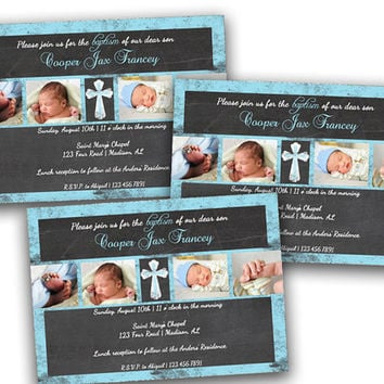 Photo Printable Chalk Baptism Invitations - Boy Girl - Blue Pink Purple Yellow - Baby Christening - Spanish - DIY - Fast - Invitation