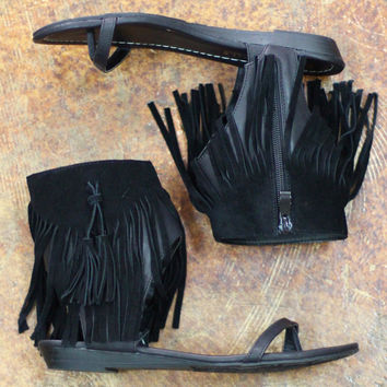 The 'Lex' Fringe Sandal by VERY VOLATILE {Black}