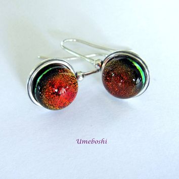 Deep Amber Dichroic Cabochon Handmade Dangle Earrings with Sterling Silver Setting