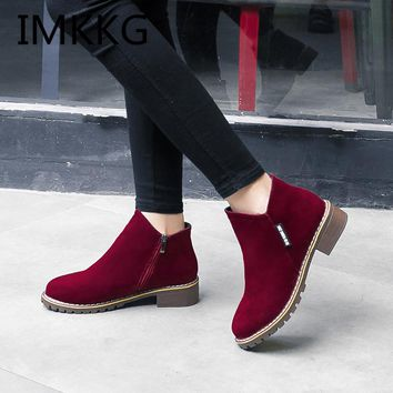 Low Heel Ankle Boots Casual Comfortable Style Shoes