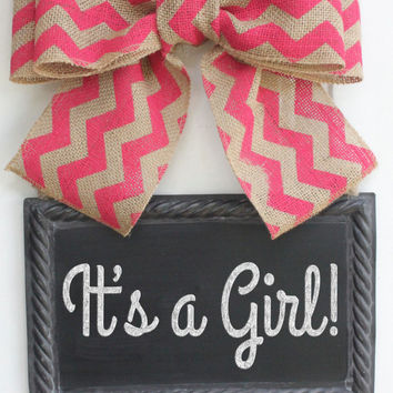 Hanging Sign Pink Chevron Ribbon Burlap Bow Metal CHALKBOARD Baby Girl Room Sign Custom write your own message Chalk art Wreath Alternative