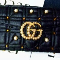 Gucci pearl shhopping shoulder woman bag BLACK -A-ZQXH-CJGFBB