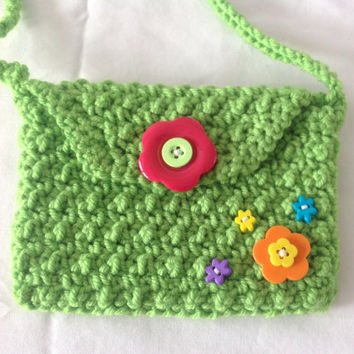 Crochet Girls purse handmade purse crochet small purse green purse toddler purse little girl purse