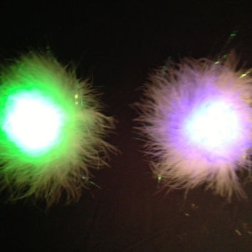 Light-up LED Fluffy Pasties - White Boa pair with Rainbow setting