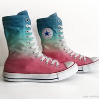 Multi-colour ombre Converse X-hi sneaker boots, dip dye upcycled vintage sneakers, All Stars, Chucks, eu 39 (UK 6, US wmns 8, US mens 6)