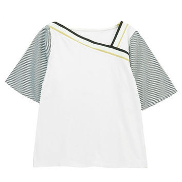 Color Block T-shirt with Striped Sleeves