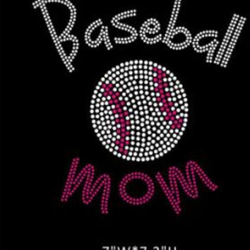 Baseball Mom Rhinestone Transfer - hot fix rhinestone heat transfer - spirit school for t shirts