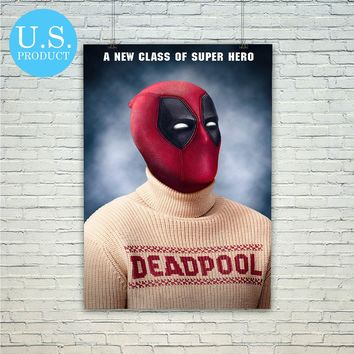 Deadpool Wearing Deadpool Sweater Christmas Poster Print Wall Decor Canvas Print - piegabags.com