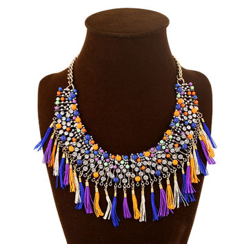 Gift New Arrival Stylish Shiny Jewelry Diamonds Tassels Costume Accessory Necklace [6056654337]