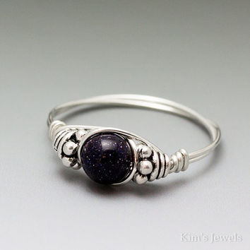 Blue Goldstone Bali Sterling Silver Wire Wrapped Ring ANY size