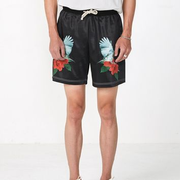 Hummingbird Rose Satin Shorts