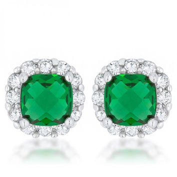 Liz 2ct Emerald Cz Rhodium Classic Cushion Stud Earrings