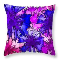 Colorful Cornflowers Throw Pillow for Sale by Susan Eileen Evans