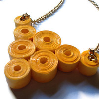 Yellow Chunky Necklace-  Statement, Upcycled, Gold