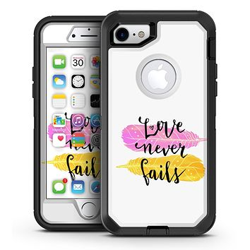 Yellow and Pink Love Never Fails - iPhone 7 or 7 Plus OtterBox Defender Case Skin Decal Kit