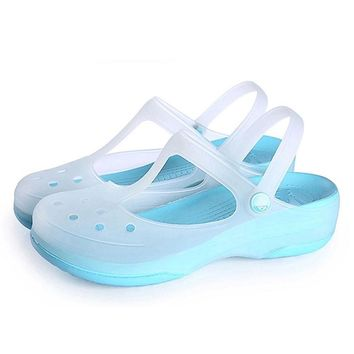 CoolFar Mules & Clogs colorful beach women shoes platform garden shoes with thick bottom,Fretwork anti-skid beach women sandals