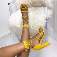 Strappy Hollow Sandals Women Fashion Peep Toe High Heels Shoes