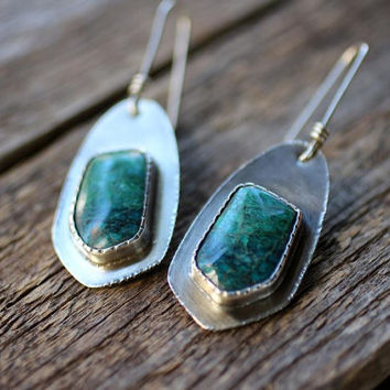 Chrysocolla Sterling Silver Earrings /Modern  / Eco-Friendly Metalsmith Handmade Jewelry, Silversmith Earrings, One of a Kind, OOAK